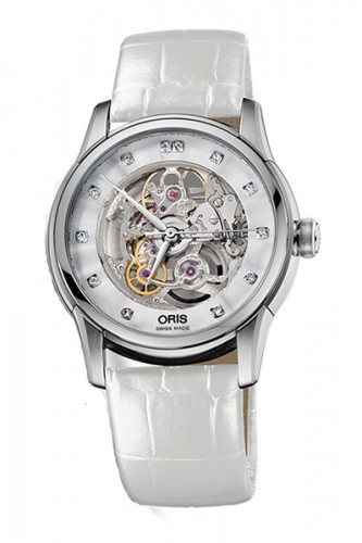 detail Oris Artelier Skeleton Diamonds 734 7670 4019 LS